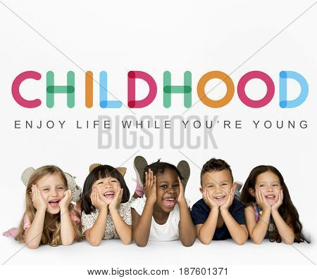 Group of students enjoy life in childhood