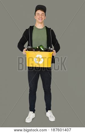 Young Adult Man Holding Recyclable Glass Bottles Studio Portrait