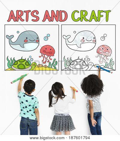 Children working on artwork graphic overlay background pad