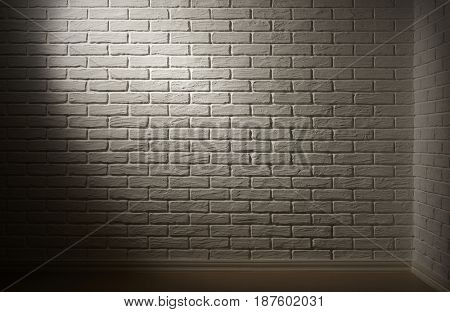 white brick wall with light effect and shadow, abstract background photo