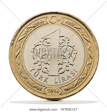 One Turkish Lira coin updated on year 2016 to date isolated on white background.
