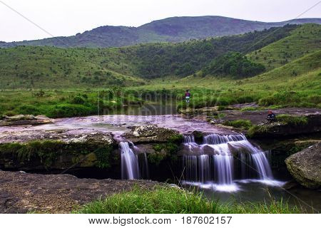 Water falls at Sohra/Cherra Punji East Khasi Hills Meghalaya