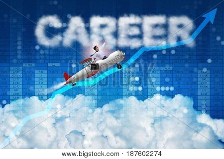Businessman flying in career concept