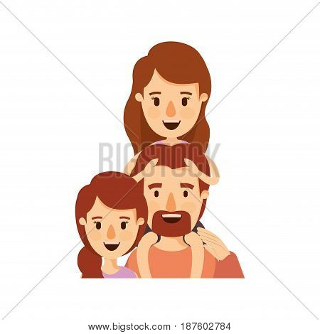 colorful caricature half body family with mother and father with moustache and girl on his back vector illustration
