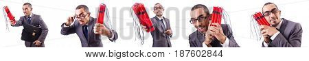 Man with dynamite stick isolated on white