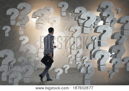 Businessman facing questions in business