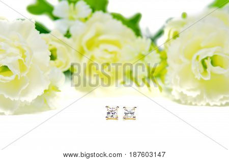 Gold Pendant Cameo Jewelry In Square Diamond Shape With Flowers Putting Isolated On White
