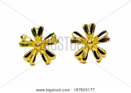 Gold Pendant Cameo Jewelry In Flower Shape With Flowers Isolated On White