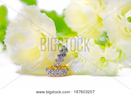 Gold Pendant Cameo Jewelry And Diamond Gemstone With Flowers Putting Isolated On White
