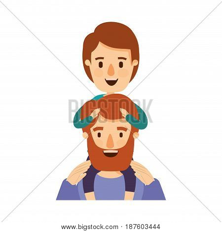 colorful caricature half body bearded father with boy on his back vector illustration
