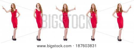 Pretty young girl in red dress isolated on white