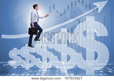 Businessman in american dollar concept