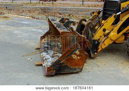 The tractor or Bulldozer on construction site tractor equipment, machine