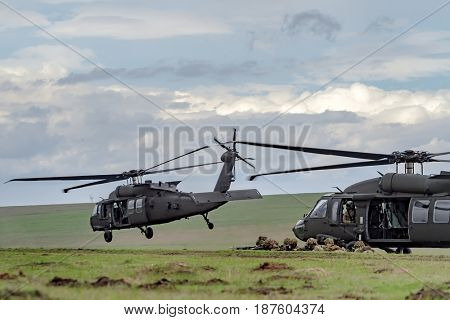 British servicemen under US Army choppers during the NATO 'Wind Spring 15' military exercise at Smardan military shooting range on April 22, 2015.