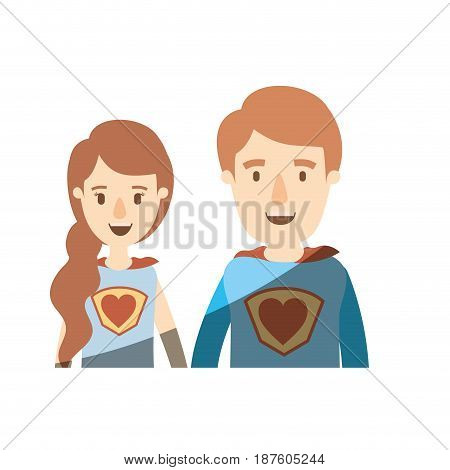 light color shading caricature half body young couple female and male super hero with heart symbol in uniform vector illustration
