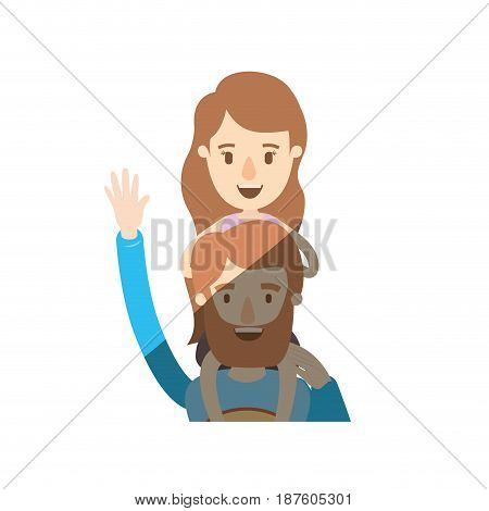 light color shading caricature half body super dad hero greeting with girl on his back vector illustration