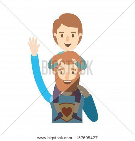 light color shading caricature half body super dad hero greeting with boy on his back vector illustration