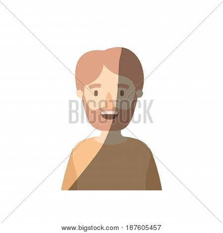 light color shading caricature half body man bearded vector illustration