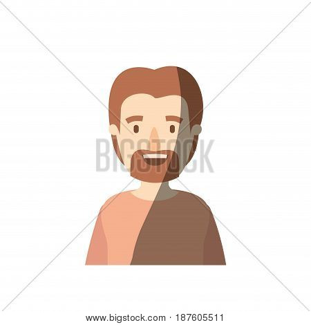 light color shading caricature half body man with moustache and beard vector illustration