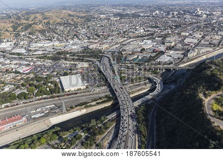 Aerial view of the Golden State 5 freeway and the Los Angeles River in Southern California.