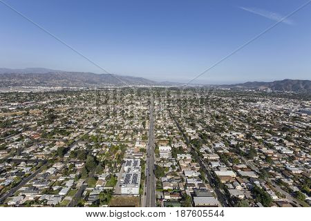 Aerial view of Oxnard Street in North Hollywood area of Los Angeles, California.