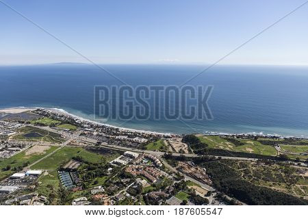 Aerial view of the Pacific Ocean and Malibu California.