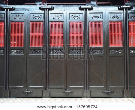 Oriental Chinese wooden door with traditional pattern
