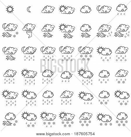 Set Of  Forty Two Forecast Black Outline Weather Icons