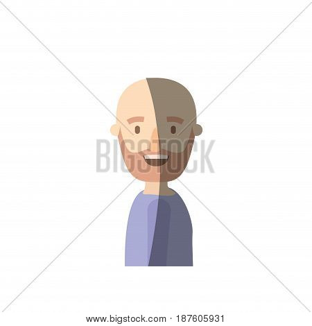 light color shading caricature side view half body bald man bearded vector illustration