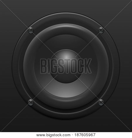 A realistic black speaker. A subwoofer with powerful bass.