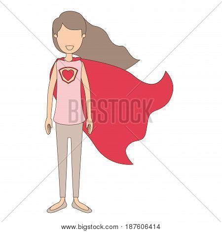 light color caricature faceless full body super hero woman with wavy long hair and cap vector illustration