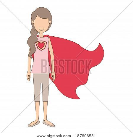 light color caricature faceless full body super hero woman with ponytail hair and cap vector illustration