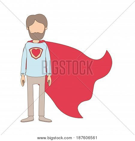 light color caricature faceless full body bearded super man hero with heart symbol in uniform vector illustration