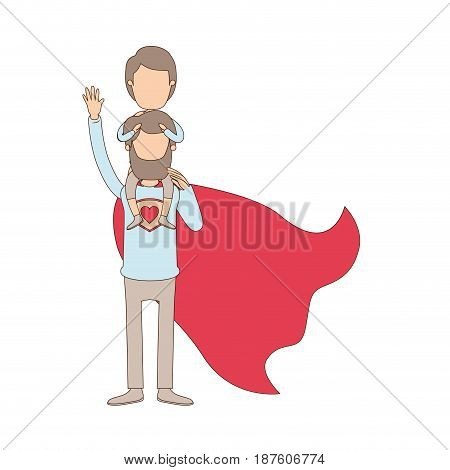light color caricature faceless full body super dad hero with girl on his back vector illustration