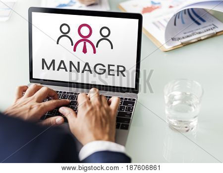 Illustration of leadership business organization on laptop