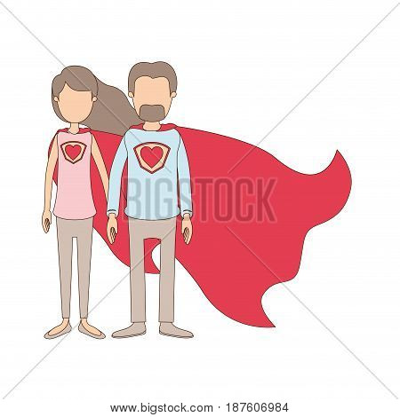 light color caricature faceless full body couple super hero with heart symbol in uniform vector illustration