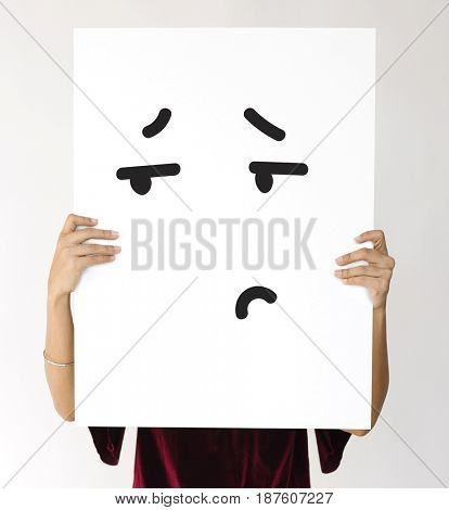 Illustration of boredom face on banner