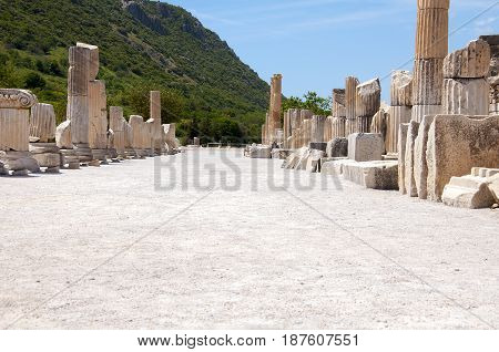 Street lined with columns in Ephesus, an ancient Greek city in Turkey