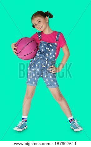 Little Girl Holding Basketball Sporty Smiling