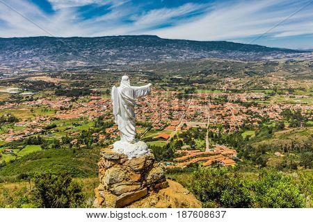 Mirador El Santo and his Jesus statue Villa de Leyva  skyline cityscape Boyaca in Colombia South America