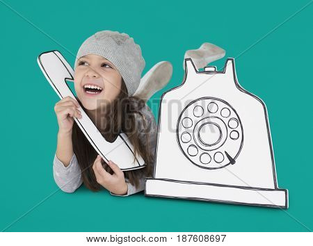 Cute Little Girl Using Telephone paper