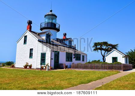 Point Pinos Light Station which became operational in 1855 guiding vessels into Monterey Bay taken in Pacific Grove, CA