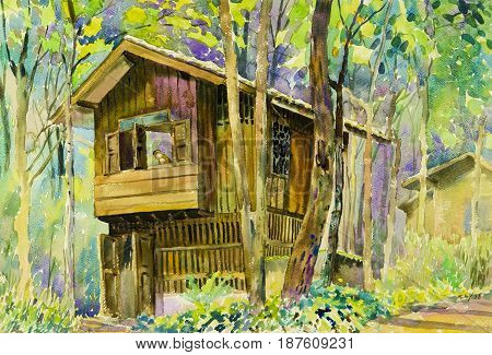 Watercolor landscape original painting colorful of wooden house in forest and parsonageintrospection in green tree emotion background