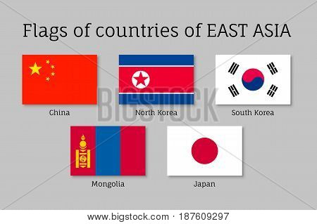 Set of flat flags of East Asian countries China, South and North Korea, Japan and Mongolia. Collection with 5 signs of Asian states. Vector isolated icons