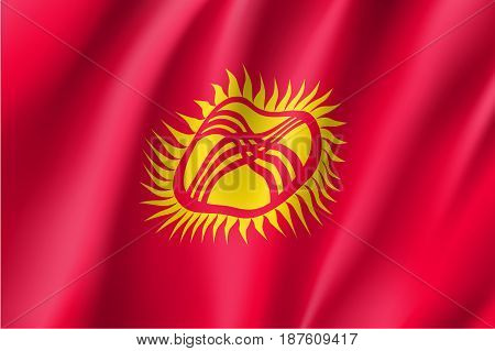 Kyrgyzstan national flag. Patriotic symbol in official country colors. Illustration of Asian state flag. Vector icon