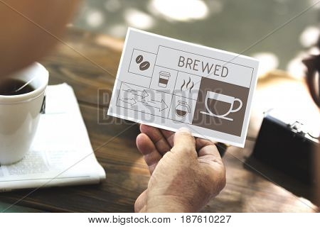 Man drinking coffee with Illustration of coffee shop advertisement on flyer