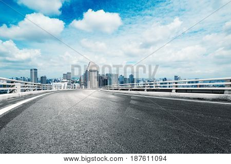 empty road with cityscape of nanchang