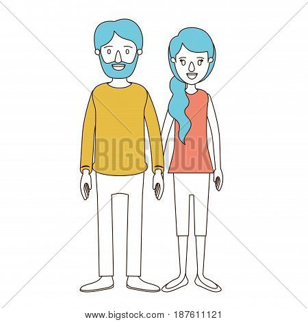 caricature color sections and blue hair of full body couple woman with ponytail side hair and man in casual clothing vector illustration