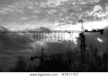 Construction cranes in front of sunset - black and white silhouette, telephoto