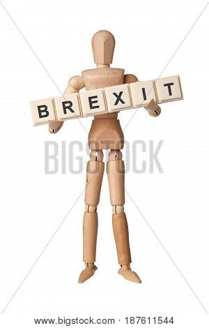 Wooden figurine with the word BREXIT isolated on white background